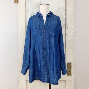 J. Jill Denim Chambray Button Down Shirt Size M